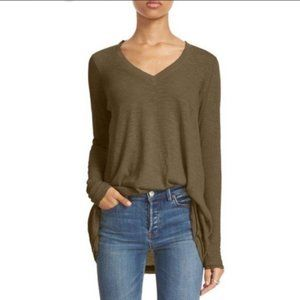 Free People Anna Tee Olive Women's T Shirt Small